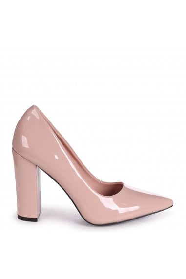 TIFFANY - Nude Patent Block High Heel Heel Court Shoe