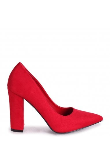 TIFFANY - Red Suede Block High Heel Heel Court Shoe