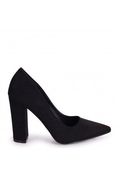 TIFFANY - Black Suede Block High Heel Heel Court Shoe