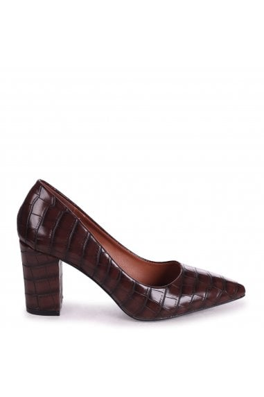 BAMBA - Brown Croc Nappa Block Heel Court Shoe