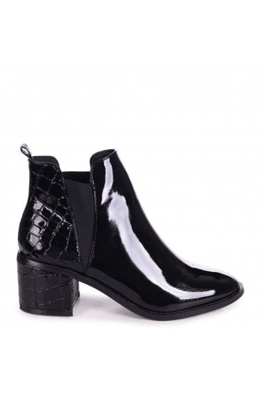 DONNA - Black Patent & Croc Pull On Block Heeled Ankle Boot