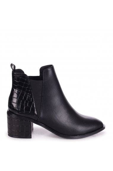 DONNA - Black Nappa & Shiny Croc Pull On Block Heeled Ankle Boot