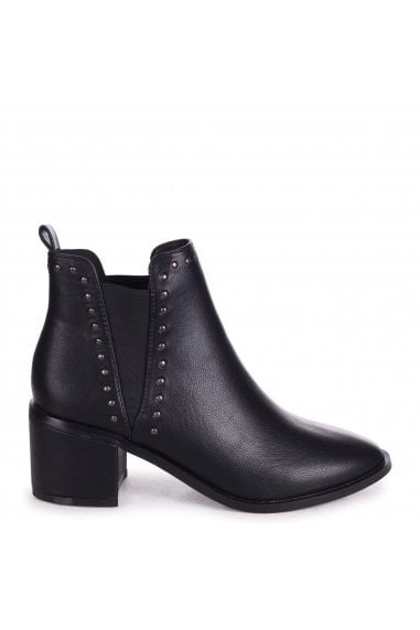 MITTIE - Black Nappa Pull On Block Heeled Ankle Boot With Studded Detailing