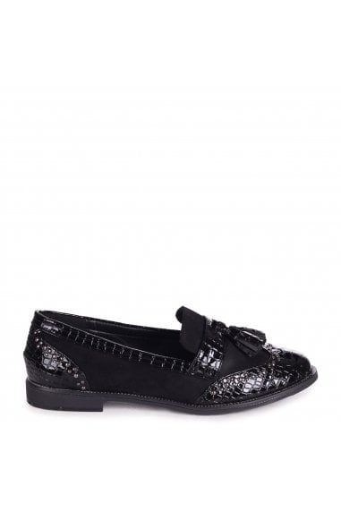 JOANIE - Black Patent Croc & Suede Slip On Loafer With Tassel and Studded Detail