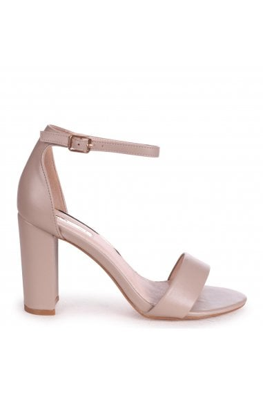 NELLY - Taupe Nappa Single Sole Block Heel