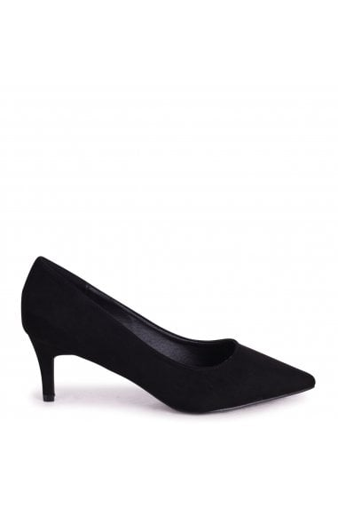 LUCINDA - Black Suede Classic Court Shoe With Low Heel