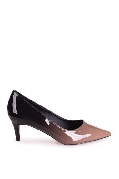 LUCINDA - Mocha & Black Ombre Classic Court Shoe With Low Heel