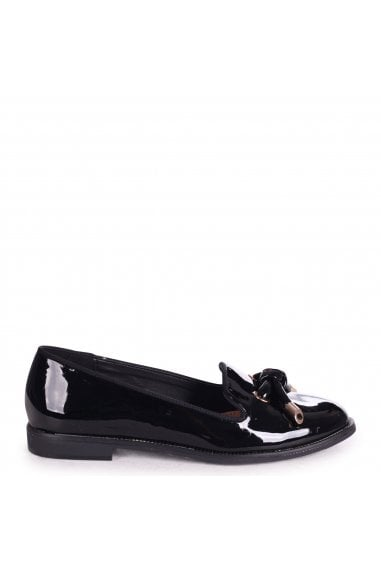 CLARICE - Black Patent Loafer With Front Knot Detail And Studded Trim