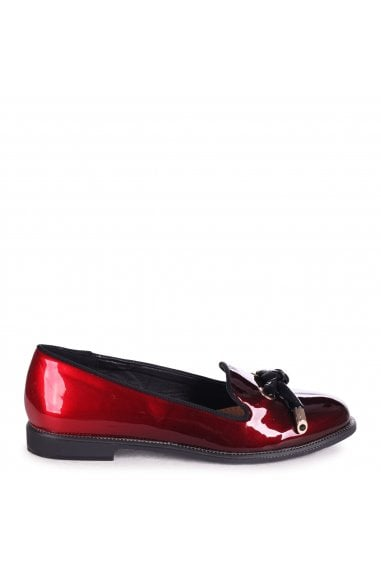 CLARICE - Red & Black Ombre Patent Loafer With Front Knot Detail And Studded Trim