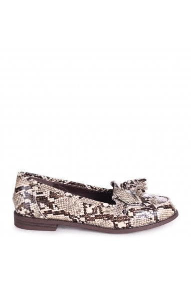 ROSEMARY - Natural Snake Effect Leather Classic Slip On Loafer