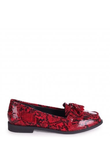 ROSEMARY - Red Snake Effect Leather Classic Slip On Loafer