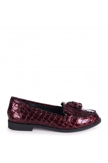ROSEMARY - Red Croc Patent Leather Classic Slip On Loafer