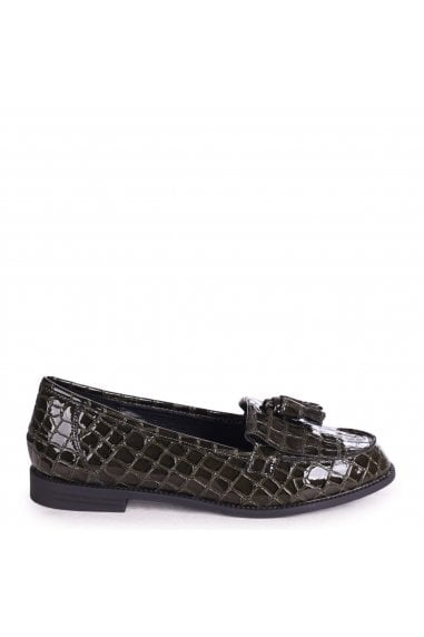 ROSEMARY - Green Croc Patent Leather Classic Slip On Loafer