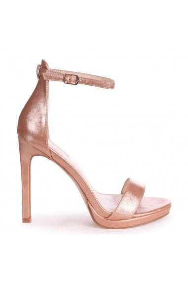 GABRIELLA - Rose Gold Metallic Barely There Stiletto Heel With Slight Platform