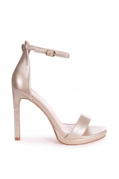 GABRIELLA - Gold Metallic Barely There Stiletto Heel With Slight Platform