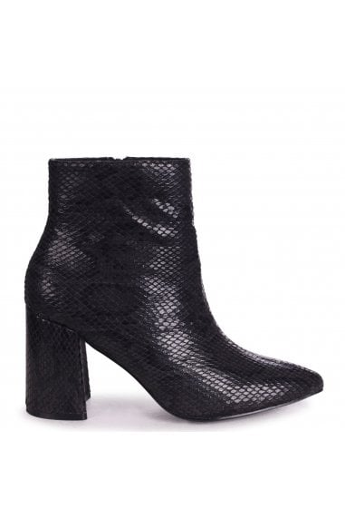 ALICE - Black Snake Block Heeled Boot With Pointed Toe