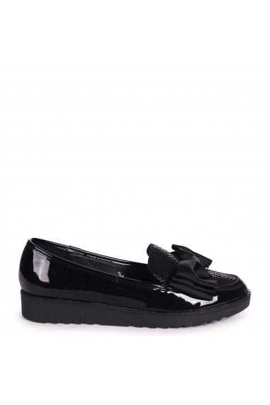 VIVIAN - Black Lizard & Patent Chunky Slip On Shoe with Fabric Bow