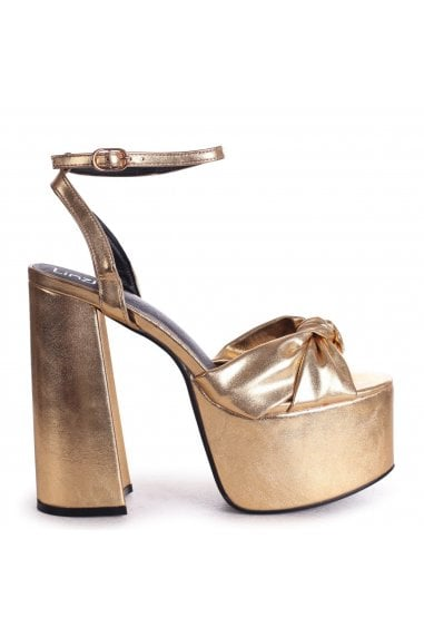 RUMOUR - Gold Crinkle Metallic Extreme Platform With Bow Front Strap