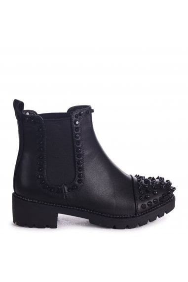 REENA - Black Nappa Ankle Boot With Studded Toe And Side Detail