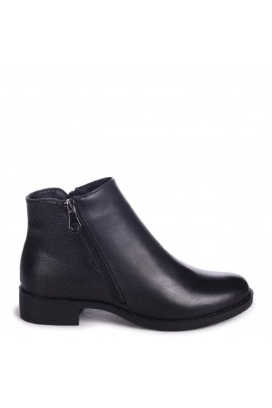COURTNEY - Black Nappa Ankle Boot With Croc & Zip Detail