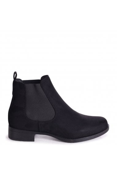 MARCELA - Black Suede Classic Chelsea Boot With Elasticated Side Panels
