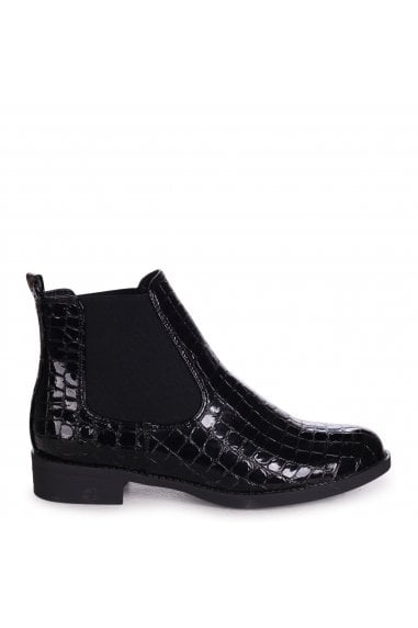 AIDA - Black Patent Croc Classic Chelsea Boot With Elasticated Side Panels