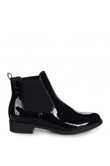 AIDA - Black Patent Classic Chelsea Boot With Elasticated Side Panels