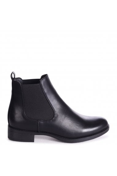 MARCELA - Black Nappa Classic Chelsea Boot With Elasticated Side Panels