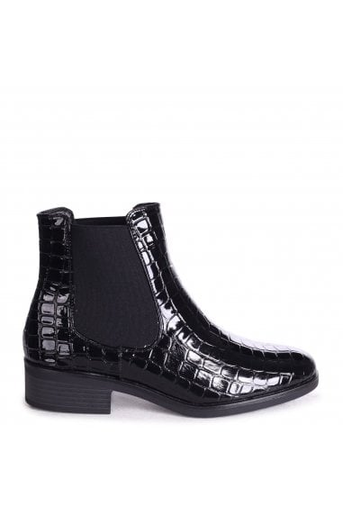 LENNI - Black Faux Croc Leather Classic Slip On Chelsea Boot