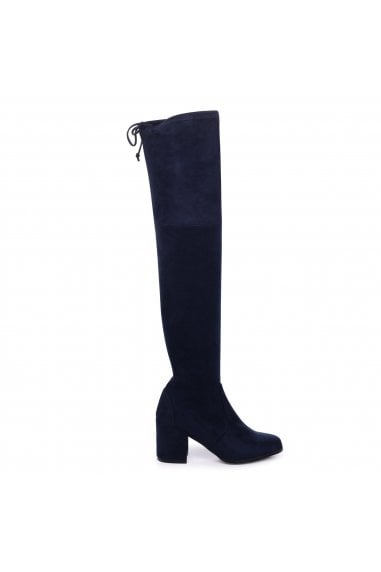 AMBER - Navy Suede Block Heeled Over The Knee Boot with Tie Up Back