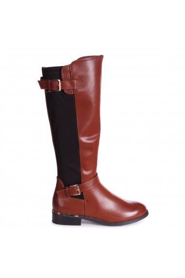 MONA - Tan Nappa Riding Boot With Lycra Back