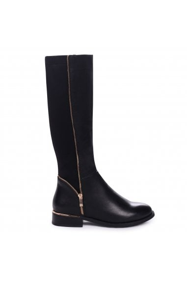NATASHA - Black Nappa Long Boot with Gold Zip & Heel Detailing and Lycra Back Panel