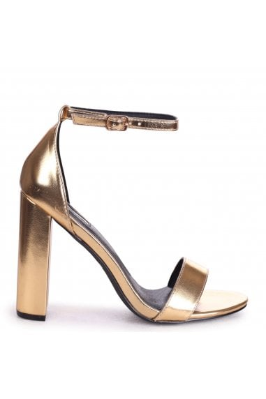 AMY - Gold Metallic Open Toe Barely There Block Heel