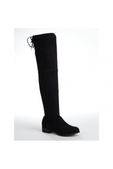 MERCY - Black Suede Over the Knee Flat Suede Boot with Tie Up Back