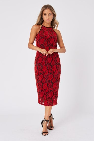 Ceres Red Velvet Lace Bodycon Midi Dress