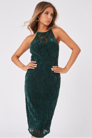 Ceres Green Velvet Lace Bodycon Midi Dress
