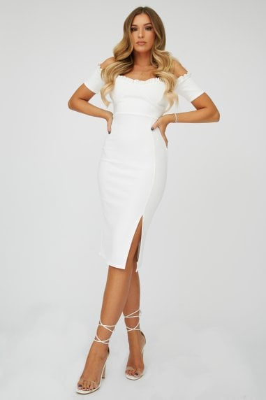 Cream Frill Bardot Midi Dress