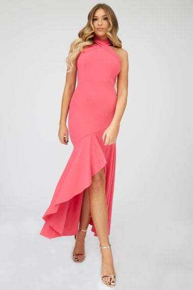 Hot Pink Fishtail Maxi Dress