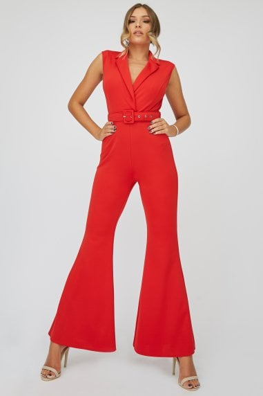 Red Tuxedo Self-Belt Jumpsuit