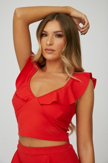 Red Frill Crop Top Co-ord