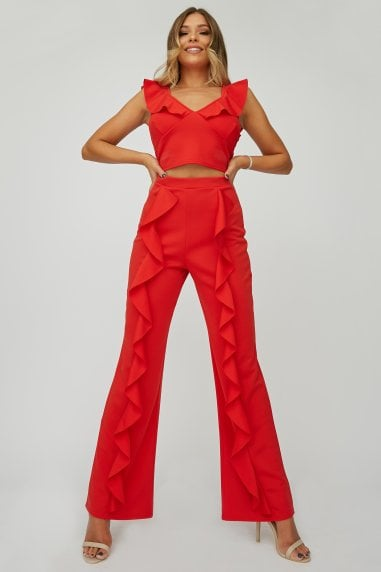 Red Frill Trousers Co-ord