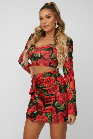 Red Rose-Print Puff Sleeve Crop Top Co-ord