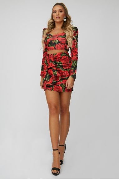 Red Rose-Print Mini Skirt Co-ord