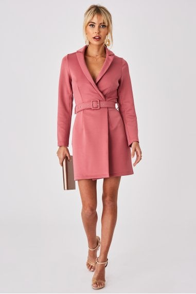 Rose Pink Tuxedo Self-Belt Mini Dress