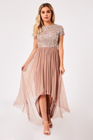 Elise Mink Hand-Embellished Sequin Hi-Low Prom Dress
