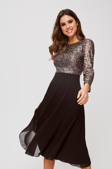 Tibi Copper Sequin Open-Back Midi Dress