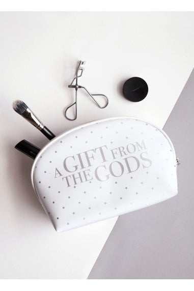 A Gift From The Gods Dotty White Square Cosmetic Bag