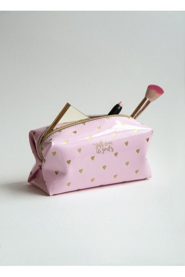A Gift From The Gods Calligraphy & Hearts Pink Square Cosmetic Bag