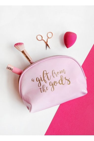 A Gift From The Gods Calligraphy Slogan Pink Curve Cosmetic Bag