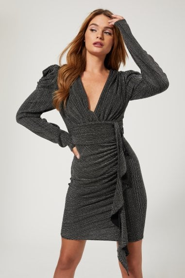 Duel Black And Silver Lurex Puff Sleeve Mini Dress